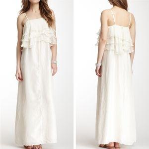 EUC Calypso St Barth white silk ruffle maxi dress